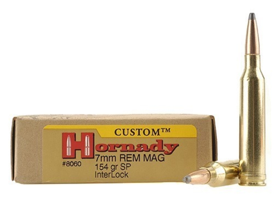 Hornady Custom Ammunition 7mm Remington Magnum 154 Grain InterLock Spire Point Box of 20