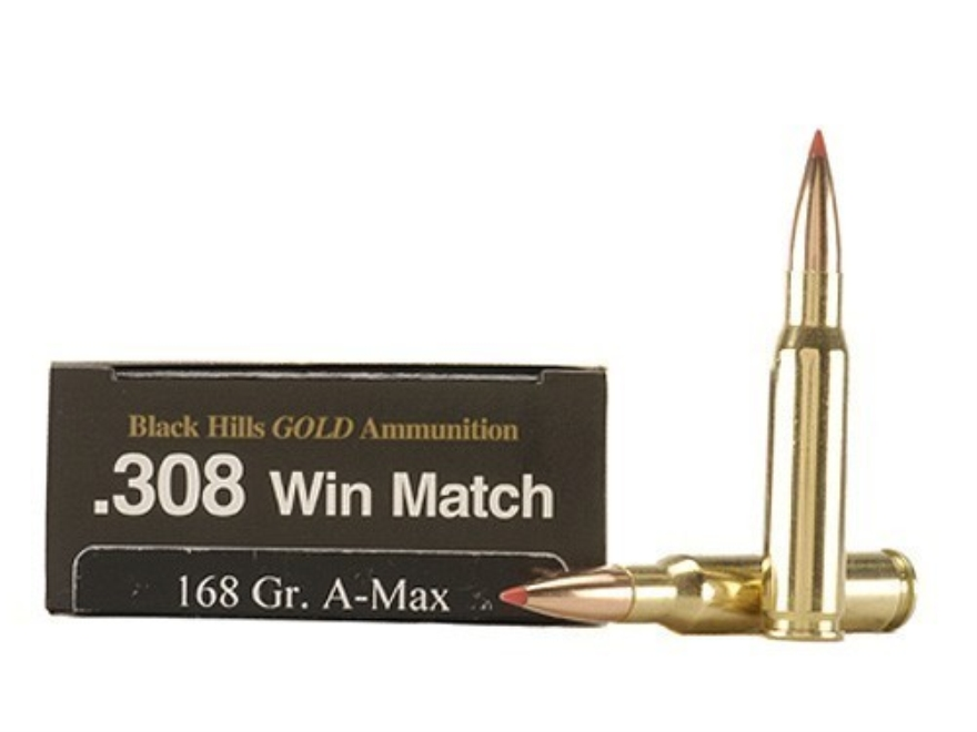 Black Hills Gold Ammunition 308 Winchester 168 Grain Hornady A-Max Box of 20