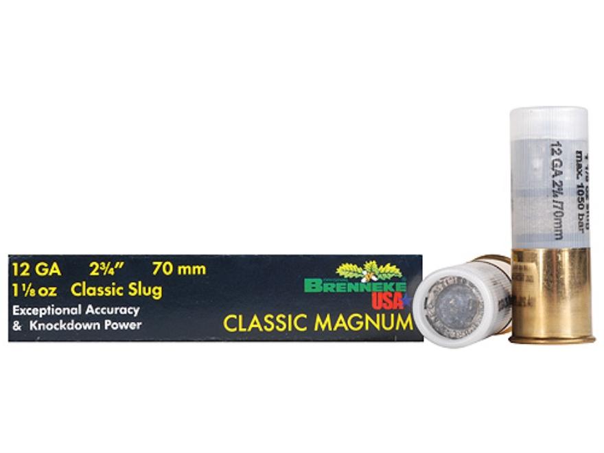 """Brenneke USA Classic Magnum Ammunition 12 Gauge 2-3/4"""" 1-1/8 oz Lead Slug Box of 5"""