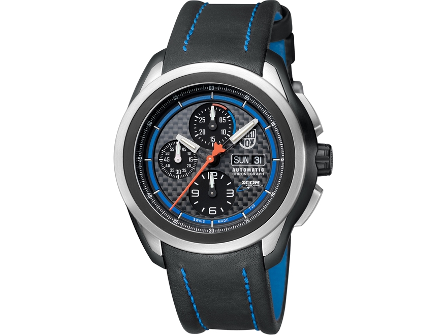 Luminox XCOR Vajoux Automatic Chronograph Watch Titanium/Leather Black/Blue