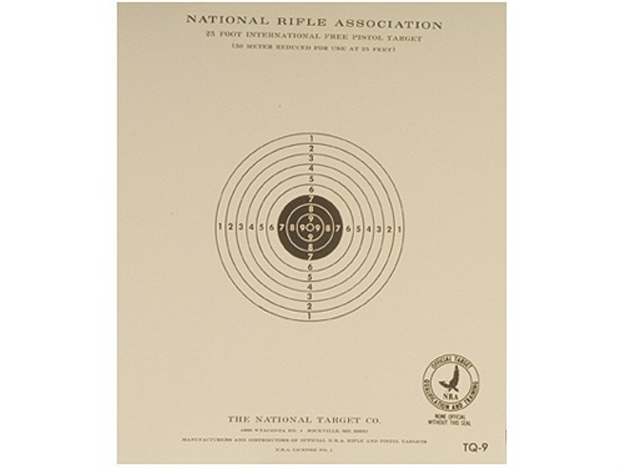NRA Official Pistol Targets TQ-9 25' Slow Fire Paper Pack of 100