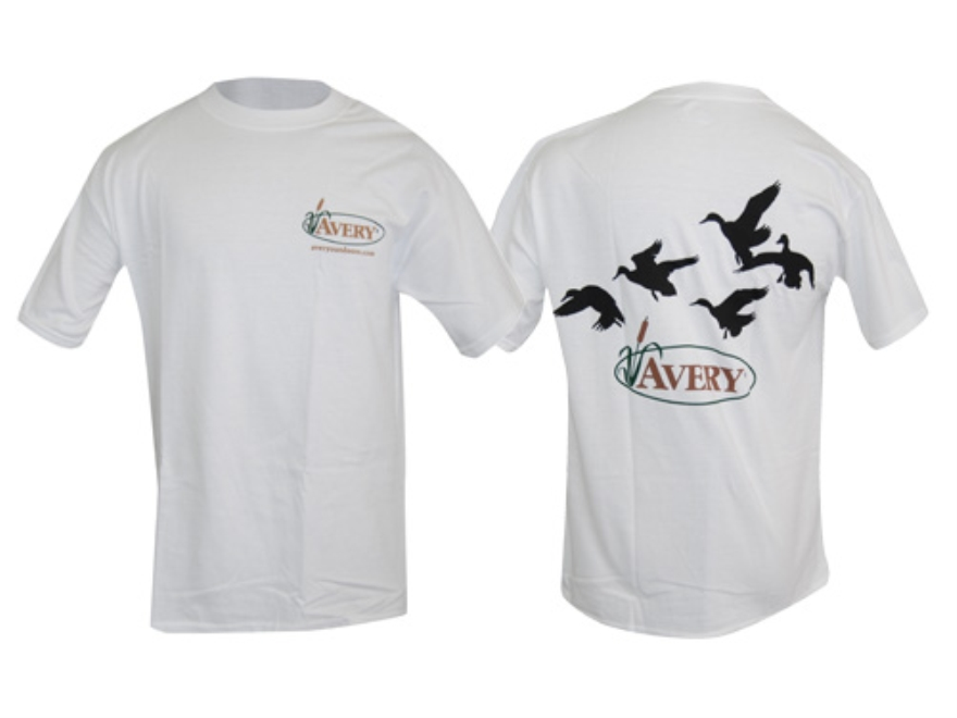 Avery Flock of Ducks T-Shirt Short Sleeve Cotton White Large