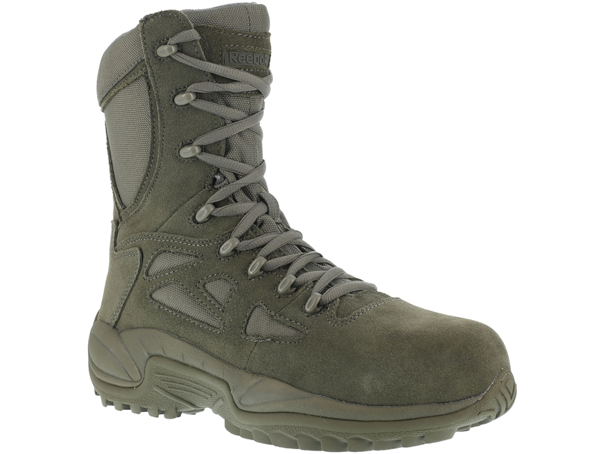 """Reebok Rapid Response 8"""" Side-Zip Composite Safety Toe Tactical Boots Leather/Nylon Men's"""