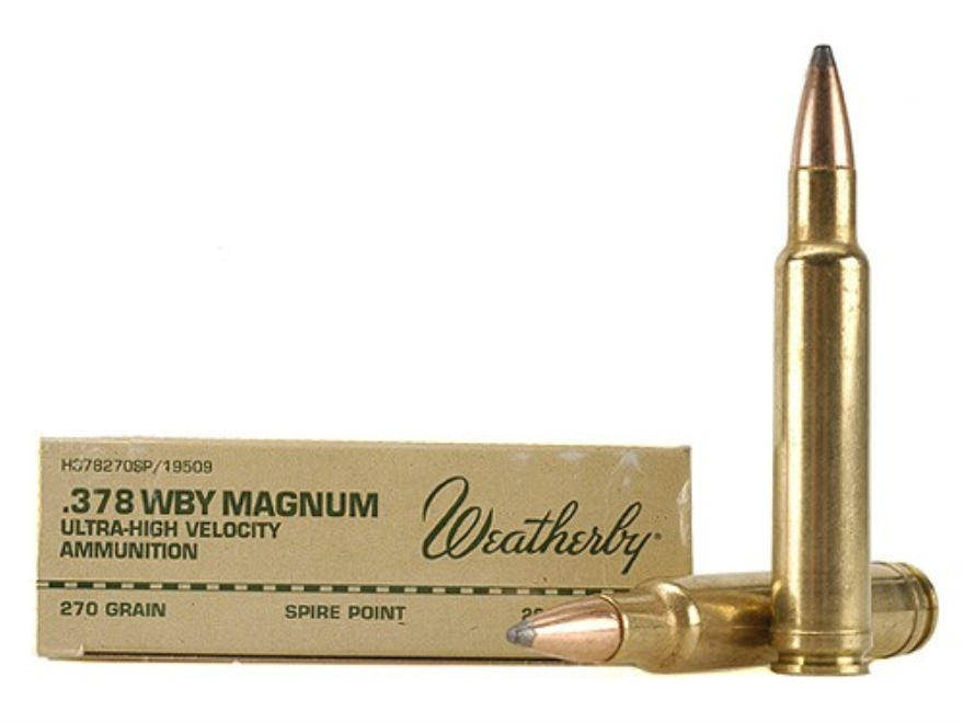Weatherby Ammunition 378 Weatherby Magnum 270 Grain Hornady Spire Point Box of 20