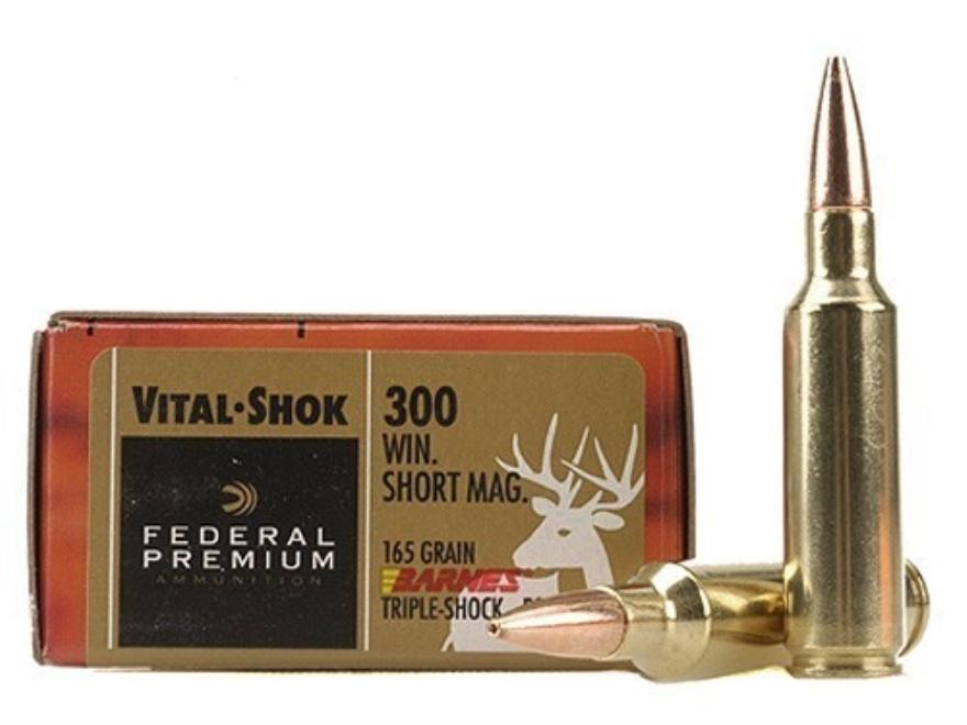 Federal Premium Vital-Shok Ammunition 300 Winchester Short Magnum (WSM) 165 Grain Barne...