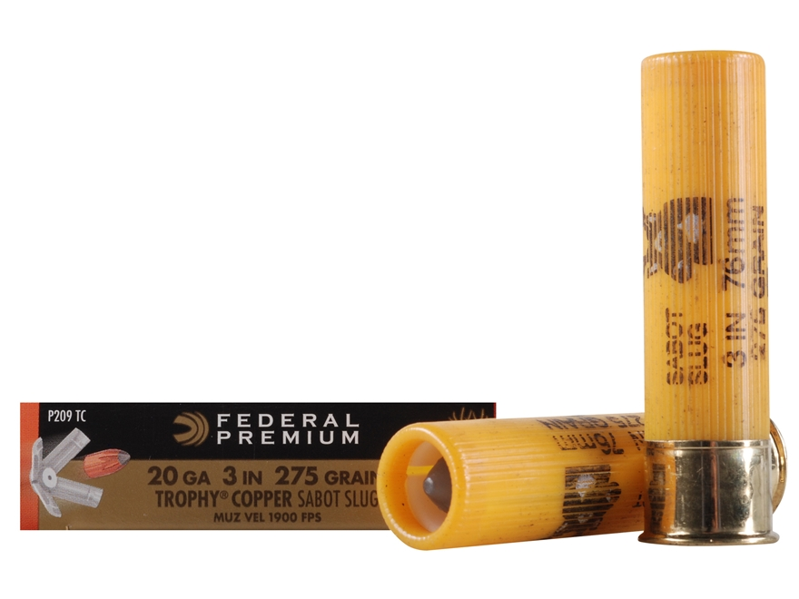 "Federal Premium Vital-Shok Ammunition 20 Gauge 3"" 275 Grain Trophy Copper Tipped Sabot ..."