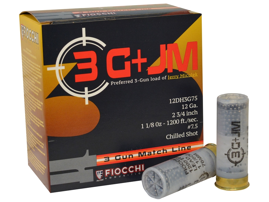 "Fiocchi 3-Gun Ammunition 12 Gauge 2-3/4"" 1-1/8 oz #7-1/2 Shot"