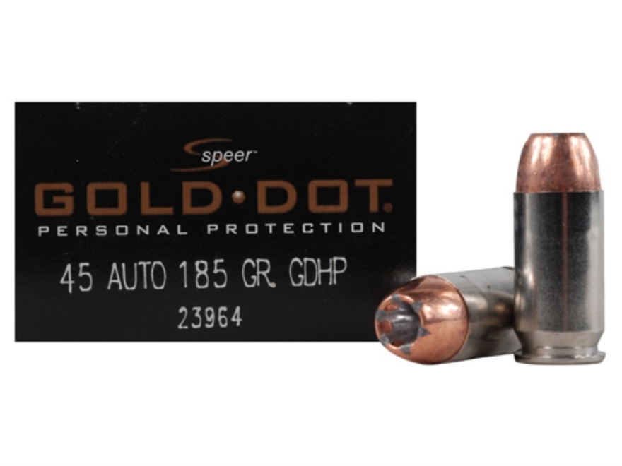 Speer Gold Dot Ammunition 45 ACP 185 Grain Jacketed Hollow Point Box of 20