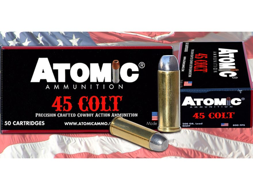 Atomic Ammunition 45 Colt (Long Colt) 200 Grain Lead Round Nose Flat Point Box of 50