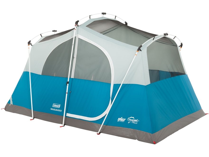 "Coleman Echo Lake Fast Pitch 6 Man Cabin Tent 144""x84""x76"" Polyester Blue and White"