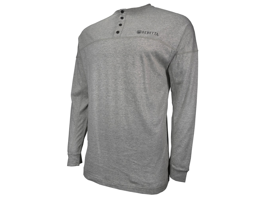 Beretta Men's Henley Shirt Long Sleeve Cotton