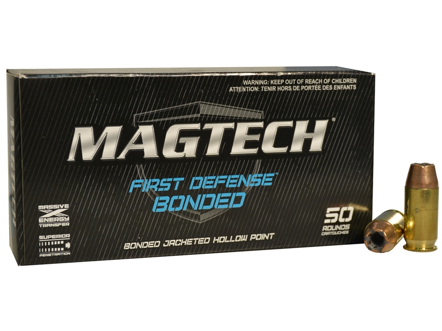 Magtech First Defense Bonded Ammunition 40 S&W 155 Grain Bonded Jacketed Hollow Point