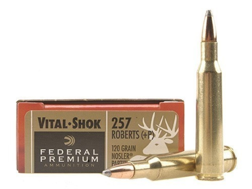 Federal Premium Vital-Shok Ammunition 257 Roberts +P 120 Grain Nosler Partition