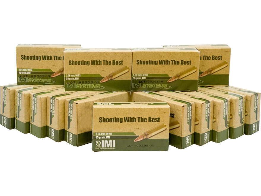IMI Ammunition 5.56x45mm 55 Grain M193 Full Metal Jacket Boat Tail Box of 450 (15 Boxes...