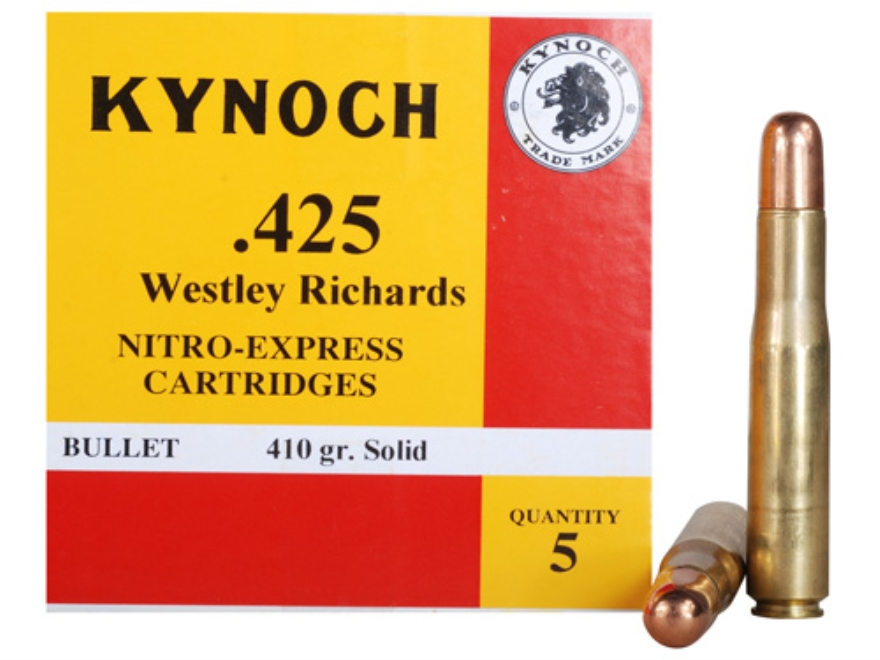 Kynoch Ammunition 425 Westley Richards 410 Grain Woodleigh Weldcore Solid Box of 5