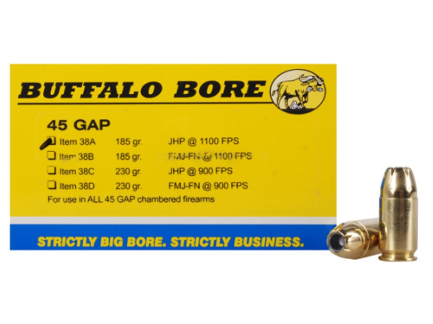 Buffalo Bore Ammunition 45 GAP 185 Grain Jacketed Hollow Point Box of 20