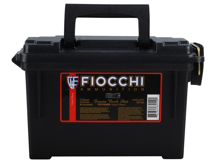 "Fiocchi High Velocity Ammunition 12 Gauge 2-3/4"" 00 Buckshot 9 Nickel Plated Pellets Am..."