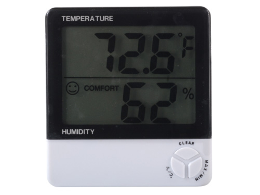 HySkore Digital Hygrometer Polymer Black and White