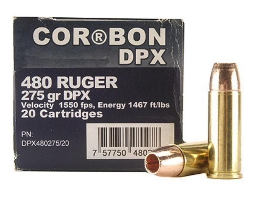 Cor-Bon DPX Ammunition 480 Ruger 275 Grain Barnes XPB Hollow Point Lead-Free Box of 20