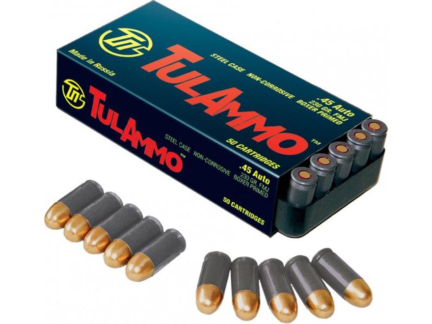 TulAmmo Ammunition 45 ACP 230 Grain Full Metal Jacket (Bi-Metal) Steel Case