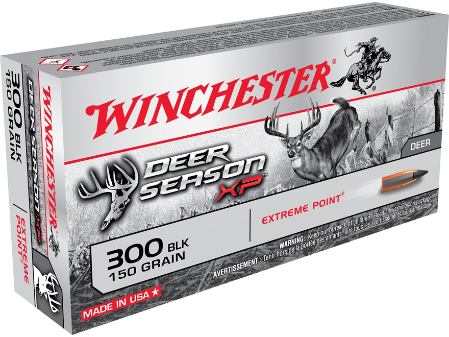 Winchester Deer Season XP Ammunition 300 AAC Blackout 150 Grain Extreme Point Polymer Tip