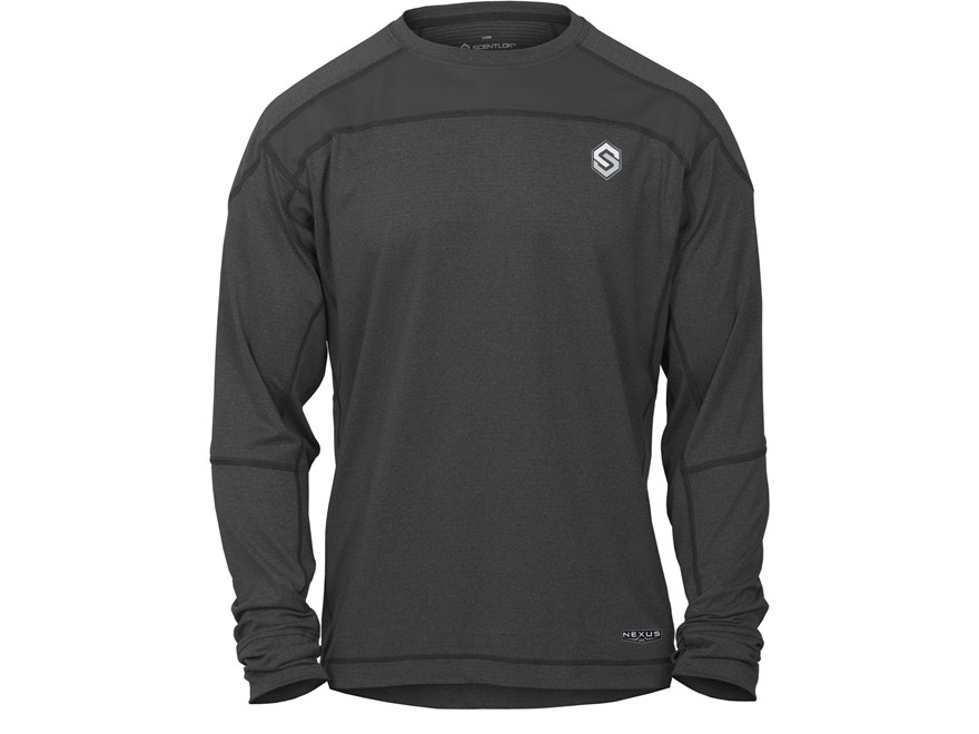 Scent-Lok Men's Nexus Active Weight Base Layer Shirt Long Sleeve Polyester Black Heather