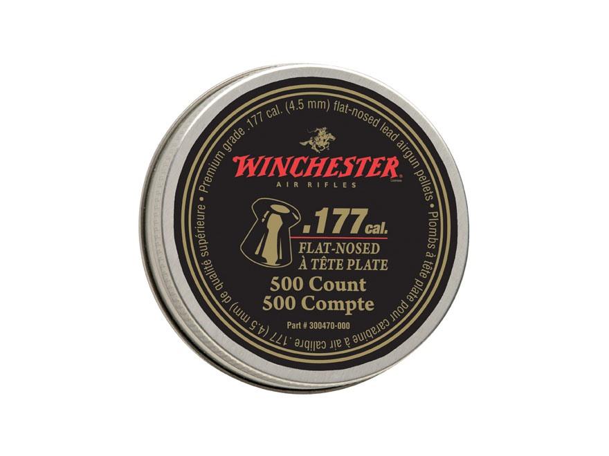 Winchester Airgun Pellets 177 Caliber 9.7 Grain Flat Point Pellets Tin of 500