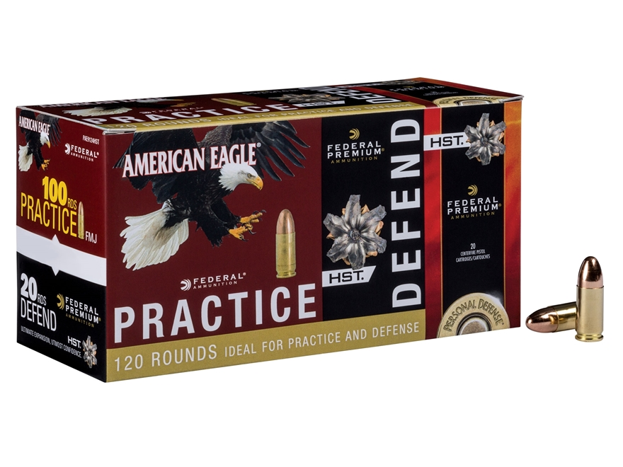 Federal Practice and Defend Ammunition Combo Pack 9mm Luger 124 Grain Full Metal Jacket...