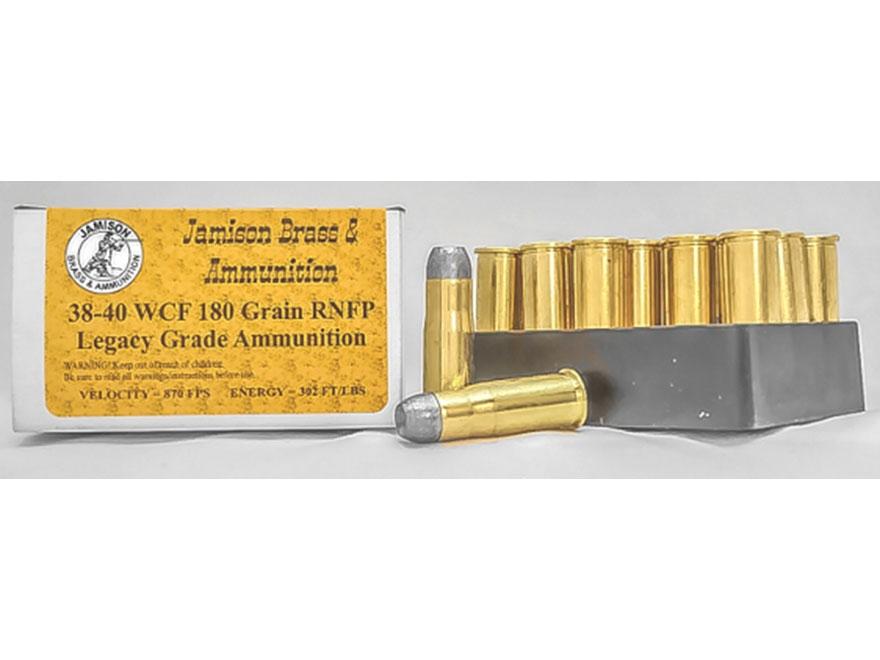 Jamison Ammunition 38-40 WCF 180 Grain Round Nose Flat Point Box of 20