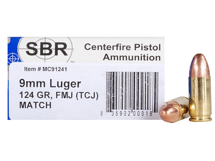 SBR Match Ammunition 9mm Luger 124 Grain Total Copper Jacket Box of 50