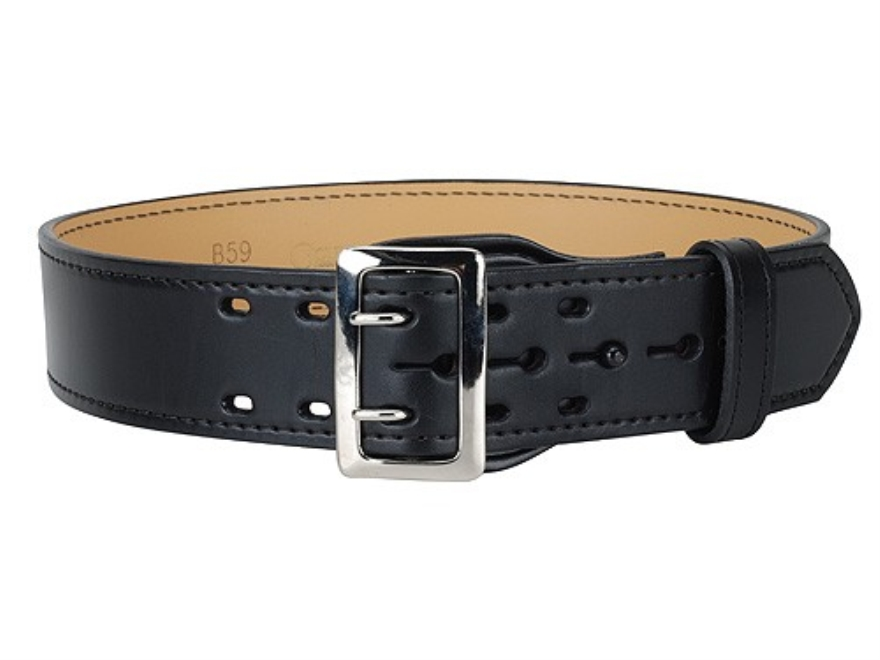 "Gould & Goodrich B59FL Duty Belt 2-1/4"" Nickel Plated Brass Buckle Leather Black 40"""