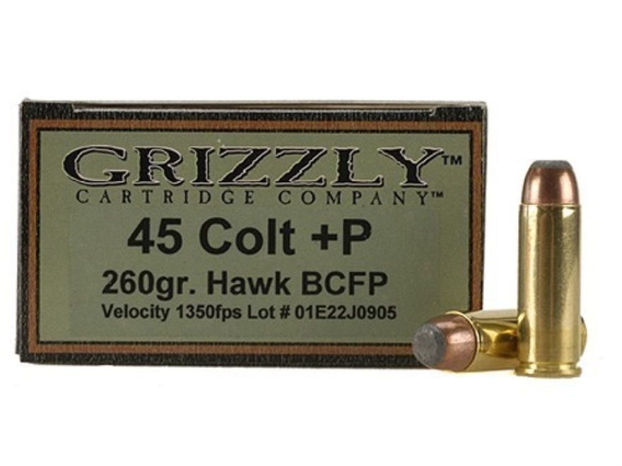Grizzly Ammunition 45 Colt (Long Colt) +P 260 Grain Bonded Core Jacketed Flat Point Box...