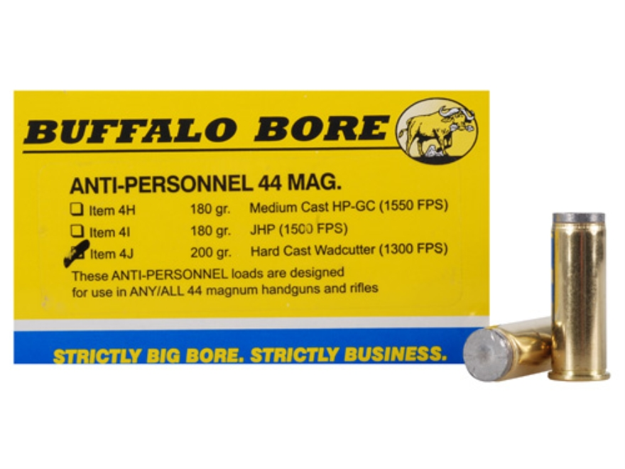 Buffalo Bore Ammunition 44 Remington Magnum 200 Grain Hard Cast Lead Wadcutter Anti-Per...