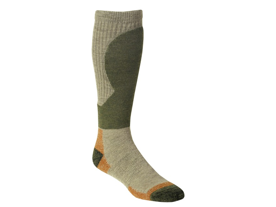 Kenetrek Men's Canada Midweight Over the Calf Socks Merino Wool Blend Tan/Green 1 Pair
