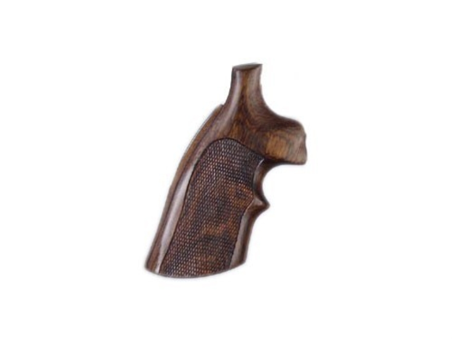 Hogue Fancy Hardwood Conversion Grips with Top Finger Groove S&W N-Frame Round to Squar...