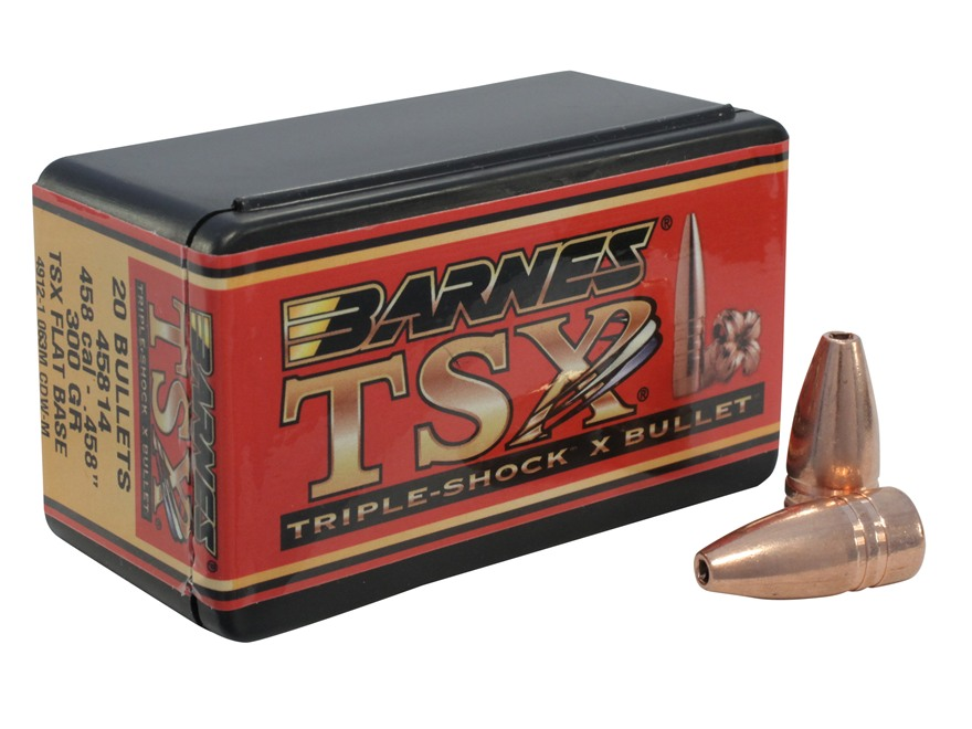 Barnes Triple-Shock X Bullets 458 Caliber (458 Diameter) 300 Grain Hollow Point Flat Ba...