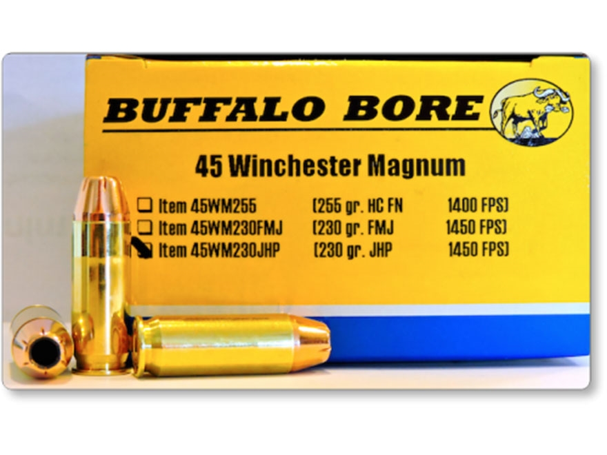 Buffalo Bore Ammunition 45 Winchester Magnum 230 Grain Jacketed Hollow Point Box of 20