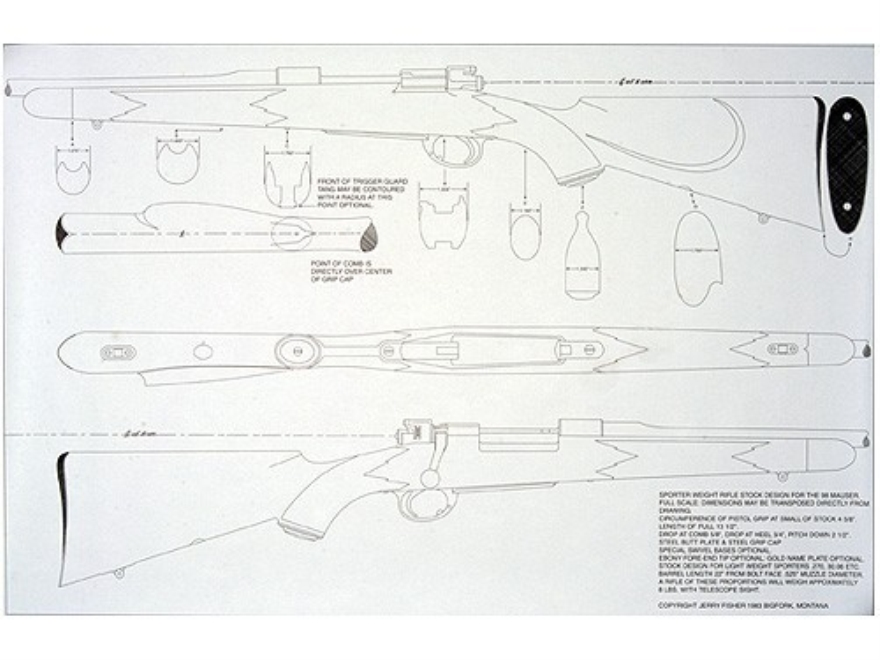Jerry Fisher Stockmaker's Full Scale Mechanical Stock Drawing Mauser 98 Four Views 23x35""
