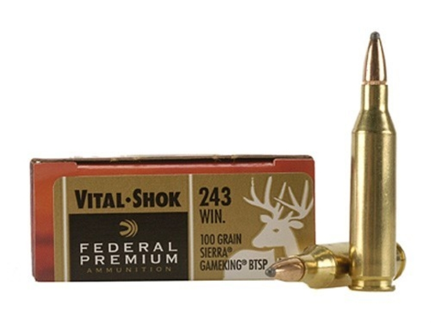 Federal Premium Vital-Shok Ammunition 243 Winchester 100 Grain Sierra GameKing Soft Poi...
