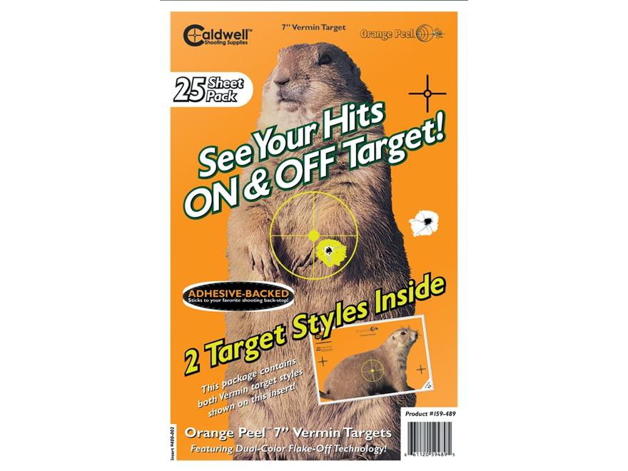 """Caldwell Orange Peel Varmint Target 7"""" Self-Adhesive Silhouette Package of 25"""