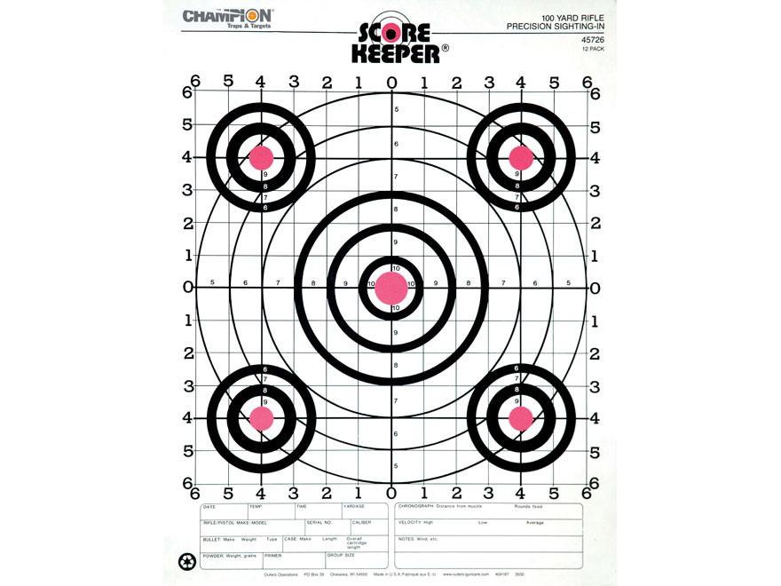 "Champion Score Keeper 100 Yard Small Bore Targets 14"" x 18"" Paper Orange Bull Package o..."
