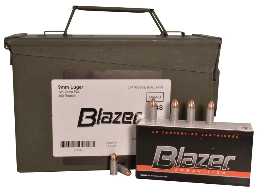 Blazer Ammunition 9mm Luger 124 Grain Full Metal Jacket Ammo Can of 400 (8 Boxes of 50)