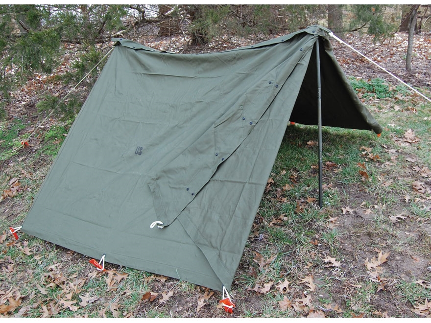Military Surplus Complete Shelter Half System 2 Person Tent Canvas Olive Drab & Military Surplus Complete Shelter Half System 2 Person Tent Canvas