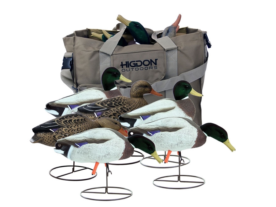 Higdon Magnum Field Duck Full-Body Flocked Head Mallard Duck Decoy with Slot Bag Polyme...