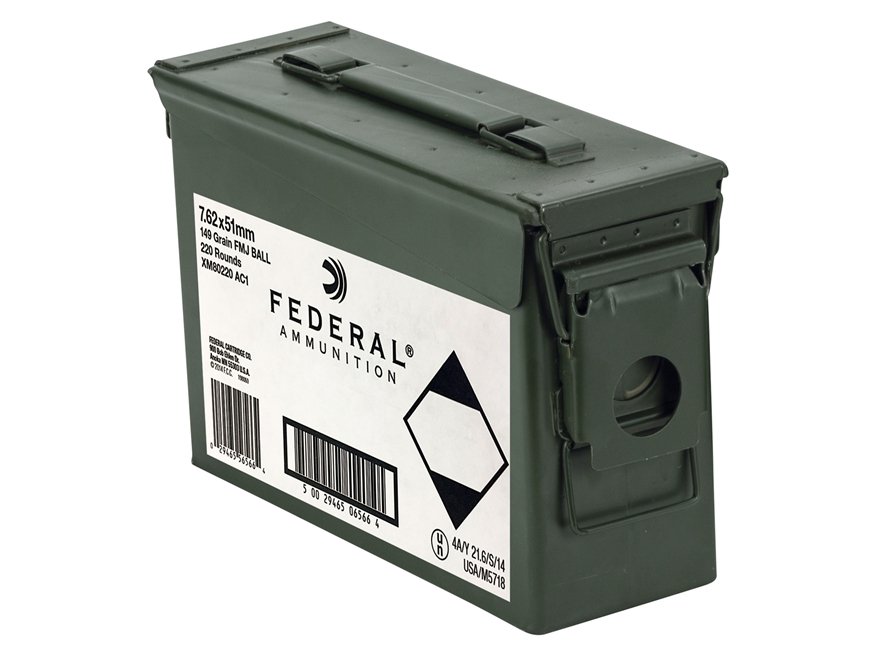 Federal Ammunition 7.62x51mm NATO 149 Grain XM80CL Full Metal Jacket Ammo Can of 220 Ro...