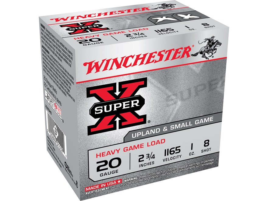 "Winchester Super-X Heavy Game Load Ammunition 20 Gauge 2-3/4"" 1 oz #8 Shot"