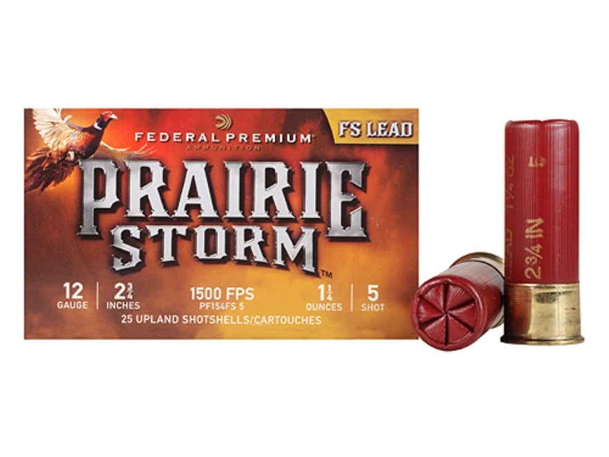 "Federal Premium Prairie Storm Ammunition 12 Gauge 2-3/4"" 1-1/4 oz #5 Plated Shot Box of 25"