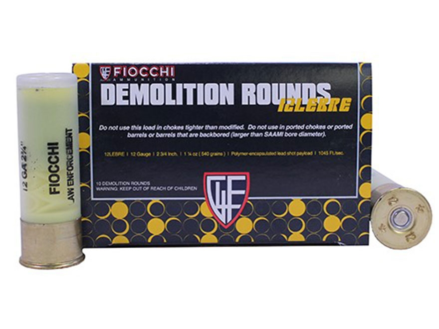 "Fiocchi Special Application Breaching Shotshell 12 Gauge 2-3/4"" 540 Grain Polymer Encap..."