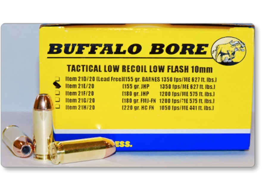 Buffalo Bore Tactical Low Recoil Ammunition 10mm Auto 155 Grain Jacketed Hollow Point L...
