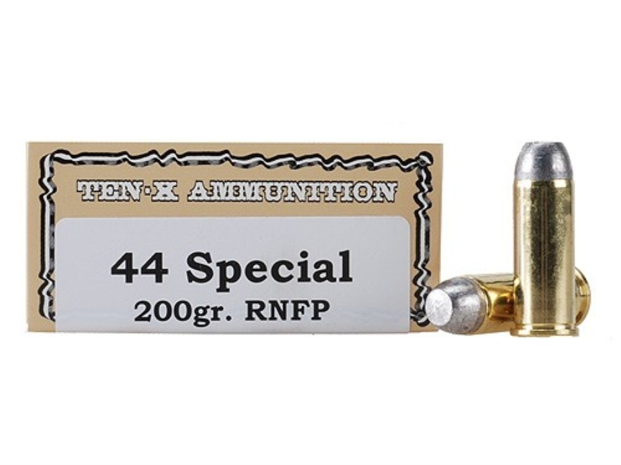 Ten-X Cowboy Ammunition 44 Special 200 Grain Lead Round Nose Flat Point Box of 50